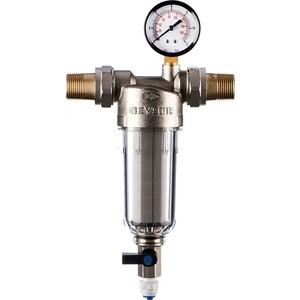 Фильтр предварительной очистки Гейзер Бастион 112 3/4'' (с манометром, для холодной воды, d60) (32671)