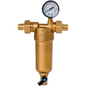 Фильтр предварительной очистки Гейзер Бастион 122 1/2'' (с манометром, для горячей воды воды, d60) (32672)