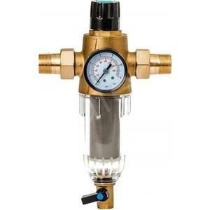 Фильтр предварительной очистки Гейзер Бастион 7508075233 (3/4 для холодной воды, с регулятором давления, с манометром d60) (32680)