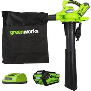 Садовый пылесос-воздуходувка GreenWorks 40V комплект с АКБ и ЗУ (24227UB) воздуходувка greenworks g40bl 24107 без аккум и зу