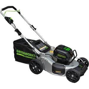 Газонокосилка аккумуляторная самоходная GreenWorks 82V, 51 см (2502607) аккумуляторная воздуходувка greenworks 24v g24ab без аккумулятора и зарядного устройства