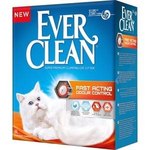 Наполнитель Ever Clean Fast Acting мгновенный контроль запахов комкующийся для кошек 6л минеральный комкующийся наполнитель сибирская кошка ультра для кошек 3л
