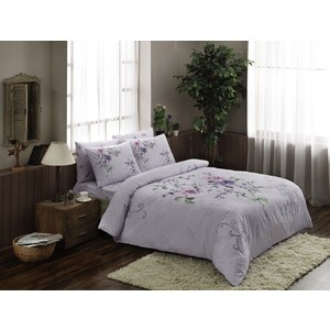 Комплект постельного белья TAC 2-х сп, ранфорс Clementine, лиловый (4081-15629) комплект постельного белья tac 1 5 сп ранфорс diane v06 mint мятный 3040 68074