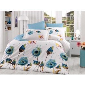Комплект постельного белья Hobby home collection Евро, поплин Veronika бирюзовое