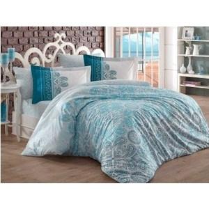 Комплект постельного белья Hobby home collection Евро, поплин Irene бирюзовый цена