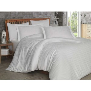 Комплект постельного белья Hobby home collection 1,5 сп, сатин Ekose, кремовое цена