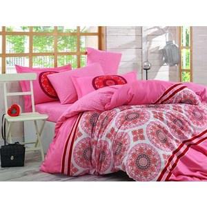 Комплект постельного белья Hobby home collection Семейный, сатин Silvana розовое