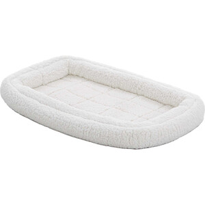 Лежанка Midwest Quiet Time Deluxe Fleece Double Bolster Bed 22 флисовая с двойным бортом 53х30 см белая для кошек и собак home living room furniture new china classic carved rosewood arhat bed solid wood long chair beauty couch double sofa single bed