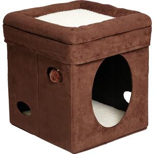 Фотография товара домик Midwest Curious Cat Cat Cube- Brown Suede складной с лежанкой для кошек 38,4x38,4x42h см (749359)