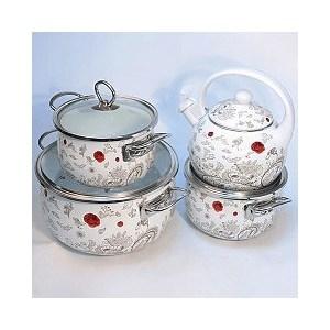 Набор эмалированной посуды 7 предметов Kelli (KL-4443) набор ножей kelli kl 2110