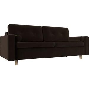 Диван прямой АртМебель Белфаст микровельвет коричневый диван книжка артмебель анна микровельвет коричневый