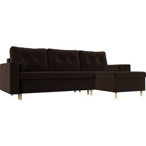 Угловой диван АртМебель Белфаст микровельвет коричневый правый угол диван угловой артмебель атланта микровельвет коричневый правый