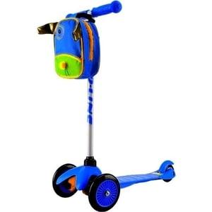 Самокат 3-х колесный Amigo Bliss с рюкзаком синий трехколесные самокаты amigo viper sport