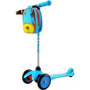 цена Самокат 3-х колесный Amigo Bliss с рюкзаком голубой