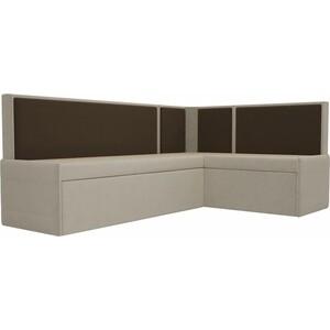 Кухонный угловой диван АртМебель Кристина микровельвет бежево/коричневый правый диван угловой артмебель атланта микровельвет коричневый правый