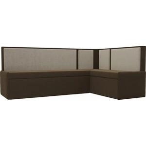 Кухонный угловой диван АртМебель Кристина микровельвет коричнево/бежевый правый кухонный угловой диван артмебель кристина микровельвет черно фиолетовый правый
