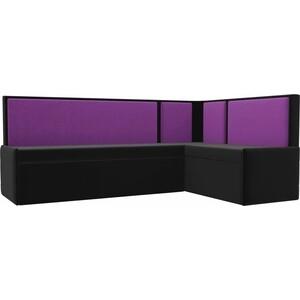 Кухонный угловой диван АртМебель Кристина микровельвет черно/фиолетовый правый кухонный угловой диван артмебель кристина микровельвет черно фиолетовый правый