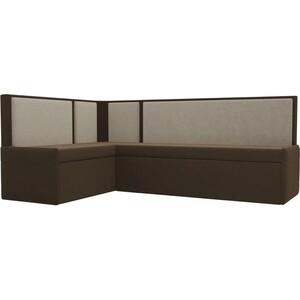 Кухонный угловой диван АртМебель Кристина микровельвет коричнево/бежевый левый угловой диван артмебель андора ткань левый