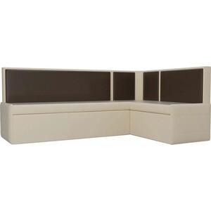 Кухонный угловой диван АртМебель Кристина эко-кожа бежево/коричневый правый