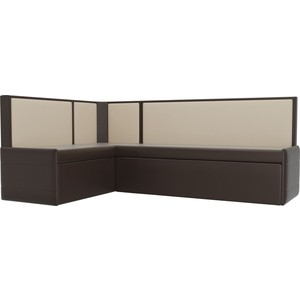Кухонный угловой диван АртМебель Кристина эко-кожа коричнево/бежевый левый угловой диван артмебель андора ткань правый