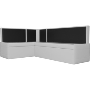 Кухонный угловой диван АртМебель Кристина эко-кожа бело/черный левый угловой диван артмебель андора ткань правый
