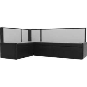 Кухонный угловой диван АртМебель Кристина эко-кожа черно/белый левый угловой диван артмебель андора ткань левый