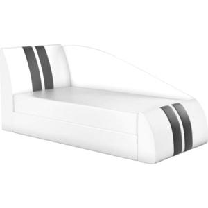 Фотография товара детская кровать АртМебель Мустанг эко-кожа белый левый (781949)