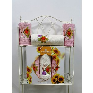 Набор из 3 полотенец Merzuka Sunflower светло-розовый махра 50x80-2/70x130-1 (9047светло-розовый) набор из 3 полотенец merzuka sakura 50х90 2 70х140 8432 терракотовый