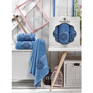 Набор из 3 полотенец Merzuka Damask голубой махра 50x80-2/70x130-1 (9321голубой) набор из 3 полотенец merzuka sakura 50х90 2 70х140 8432 терракотовый