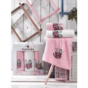 Набор из 3 полотенец Merzuka Butterfly светло-розовый махра 50x80-2/70x130-1 (9335светло-розовый) набор из 3 полотенец merzuka sakura 50х90 2 70х140 8432 терракотовый