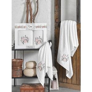Набор из  2 полотенец Sikel Florida кремовый бамбук 3д с вышивкой 50x90/70x140 (9490кремовый) sikel набор из 2 полотенец nazande цвет коричневый