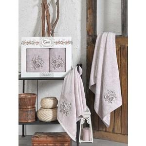 Набор из  2 полотенец Sikel Florida лиловый бамбук 3д с вышивкой 50x90/70x140 (9490лиловый) sikel набор из 2 полотенец nazande цвет коричневый