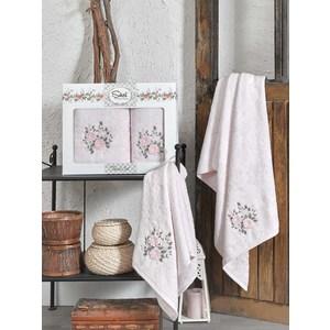 Набор из  2 полотенец Sikel Florida розовый бамбук 3д с вышивкой 50x90/70x140 (9490розовый) sikel набор из 2 полотенец nazande цвет коричневый