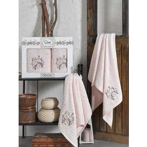Набор из  2 полотенец Sikel Florida персиковый бамбук 3д с вышивкой 50x90/70x140 (9490персиковый) sikel набор из 2 полотенец nazande цвет коричневый