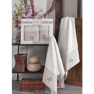 Набор из  2 полотенец Sikel Kanevice кремовый бамбук с вышивкой 50x90/70x140 (9491кремовый) sikel набор из 2 полотенец nazande цвет коричневый