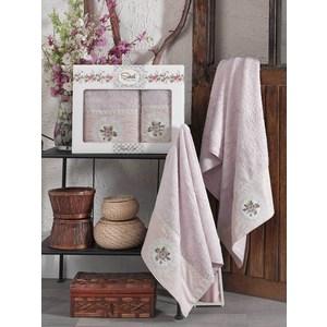 Набор из  2 полотенец Sikel Kanevice лиловый бамбук с вышивкой 50x90/70x140 (9491лиловый) sikel набор из 2 полотенец nazande цвет коричневый