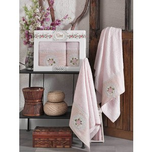 Набор из  2 полотенец Sikel Kanevice розовый бамбук с вышивкой 50x90/70x140 (9491розовый) sikel набор из 2 полотенец nazande цвет коричневый