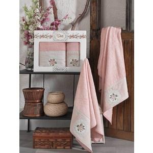 Набор из  2 полотенец Sikel Kanevice пудра бамбук с вышивкой 50x90/70x140 (9491пудра) sikel набор из 2 полотенец nazande цвет коричневый