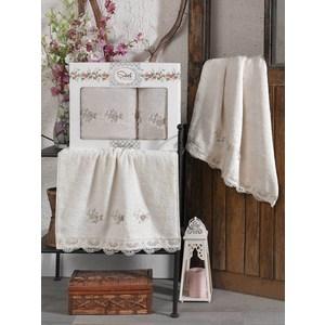 Набор из  2 полотенец Sikel London бежевый бамбук с вышивкой 50x90/70x140 (9492бежевый) sikel набор из 2 полотенец nazande цвет коричневый