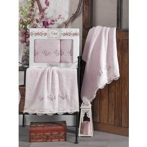 Набор из  2 полотенец Sikel London розовый бамбук с вышивкой 50x90/70x140 (9492розовый) sikel набор из 2 полотенец nazande цвет коричневый