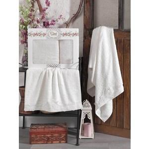 Набор из  2 полотенец Sikel Berhamis кремовый бамбук с вышивкой 50x90/70x140 (9493кремовый) sikel набор из 2 полотенец nazande цвет коричневый