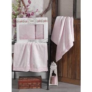 Набор из  2 полотенец Sikel Berhamis розовый бамбук с вышивкой 50x90/70x140 (9493розовый) sikel набор из 2 полотенец nazande цвет коричневый