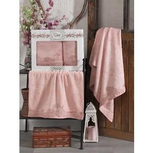 Набор из  2 полотенец Sikel Berhamis пудра бамбук с вышивкой 50x90/70x140 (9493пудра) sikel набор из 2 полотенец nazande цвет коричневый