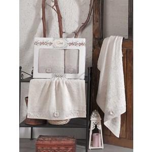 Набор из  2 полотенец Sikel Afrodit бежевый бамбук с вышивкой 50x90/70x140 (9495бежевый) sikel набор из 2 полотенец nazande цвет коричневый