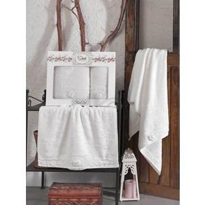 Набор из  2 полотенец Sikel Afrodit кремовый бамбук с вышивкой 50x90/70x140 (9495кремовый) sikel набор из 2 полотенец nazande цвет коричневый