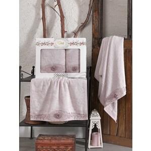 Набор из  2 полотенец Sikel Afrodit лиловый бамбук с вышивкой 50x90/70x140 (9495лиловый) sikel набор из 2 полотенец nazande цвет коричневый
