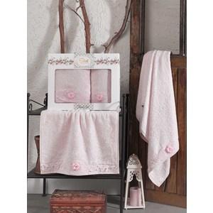 Набор из  2 полотенец Sikel Afrodit розовый бамбук с вышивкой 50x90/70x140 (9495розовый) sikel набор из 2 полотенец nazande цвет коричневый