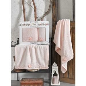 Набор из  2 полотенец Sikel Afrodit персиковый бамбук с вышивкой 50x90/70x140 (9495персиковый) sikel набор из 2 полотенец nazande цвет коричневый