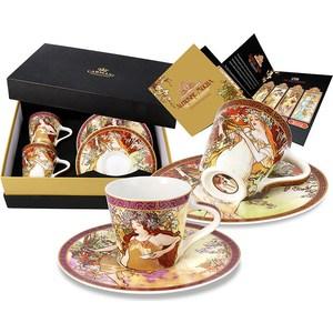 Набор: 2 чашки для кофе + 2 блюдца Carmani Весна/ Осень А. Муха (CAR2-539-5106) чашка кружка carmani чашка с блюдцем осень а муха car2 539 5003