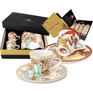 Набор: 2 чашки для кофе + 2 блюдца Carmani Лето/ Зима А. Муха (CAR2-539-5105) carmani набор для торта блюдо с лопаткой топаз а муха